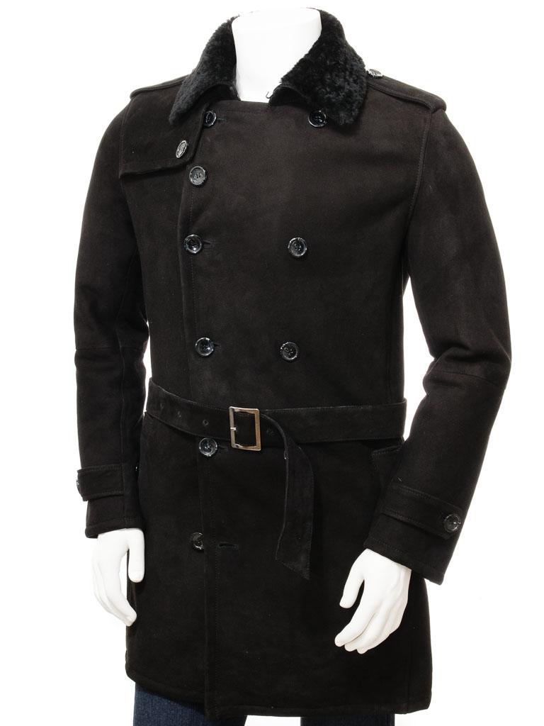 Men S Black Shearling Coat Coryton Men Caine