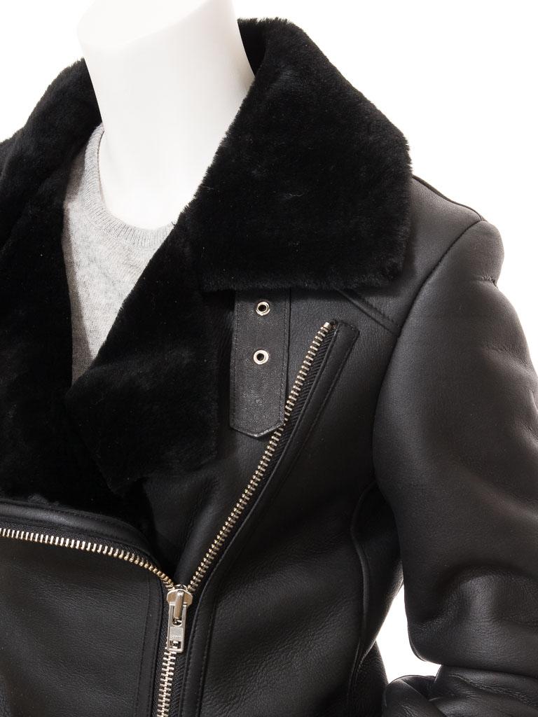 efd25614dd5 Women's Black Shearling Biker Jacket: Dadeville :: WOMEN :: Caine
