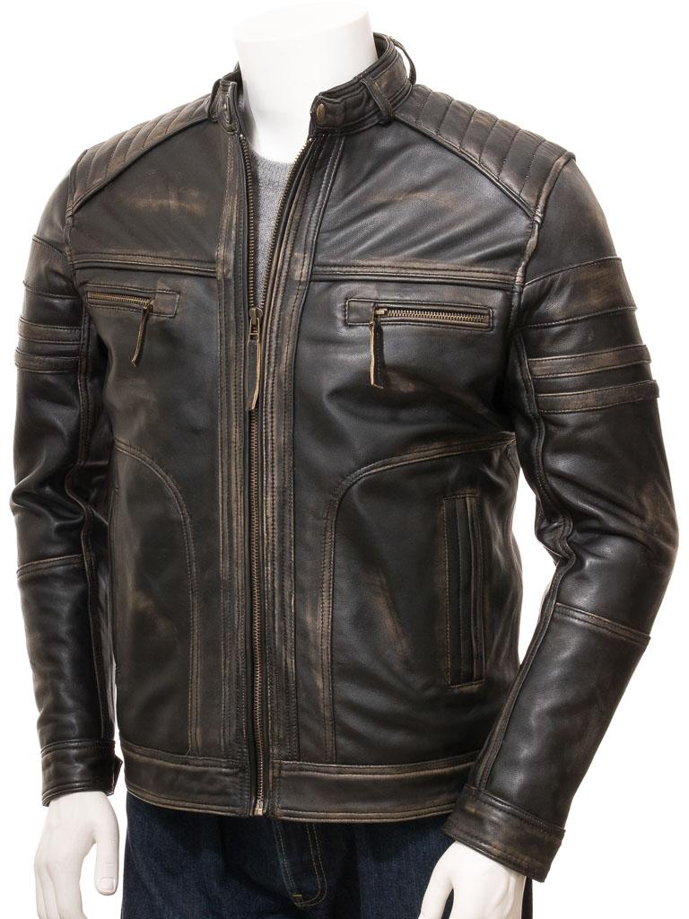Vintage Leather Jacket >> Men S Vintage Leather Biker Jacket Eggesford