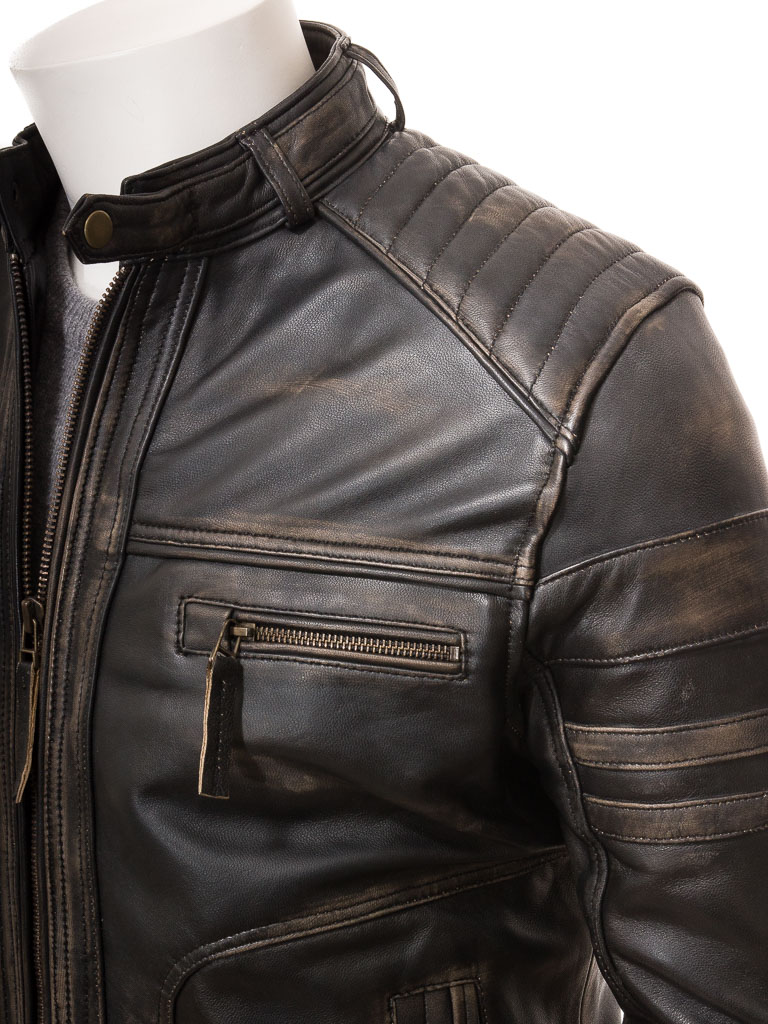 725b8c6d59f Men S Vintage Leather Biker Jacket Eggesford Caine