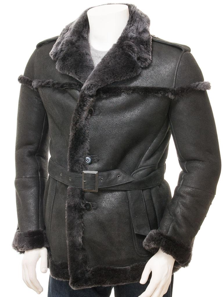 208020976af Men s Black Shearling Coat  Exbourne    MEN    Caine