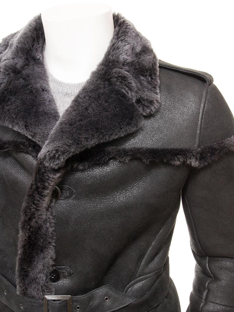 Men S Black Shearling Coat Exbourne Men Caine