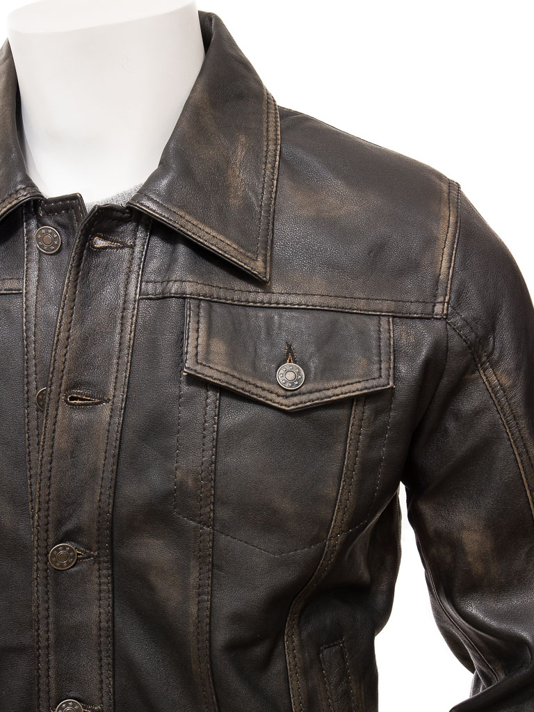 40d9a86acf Mens Leather Trucker Jacket in Vintage: Foggia