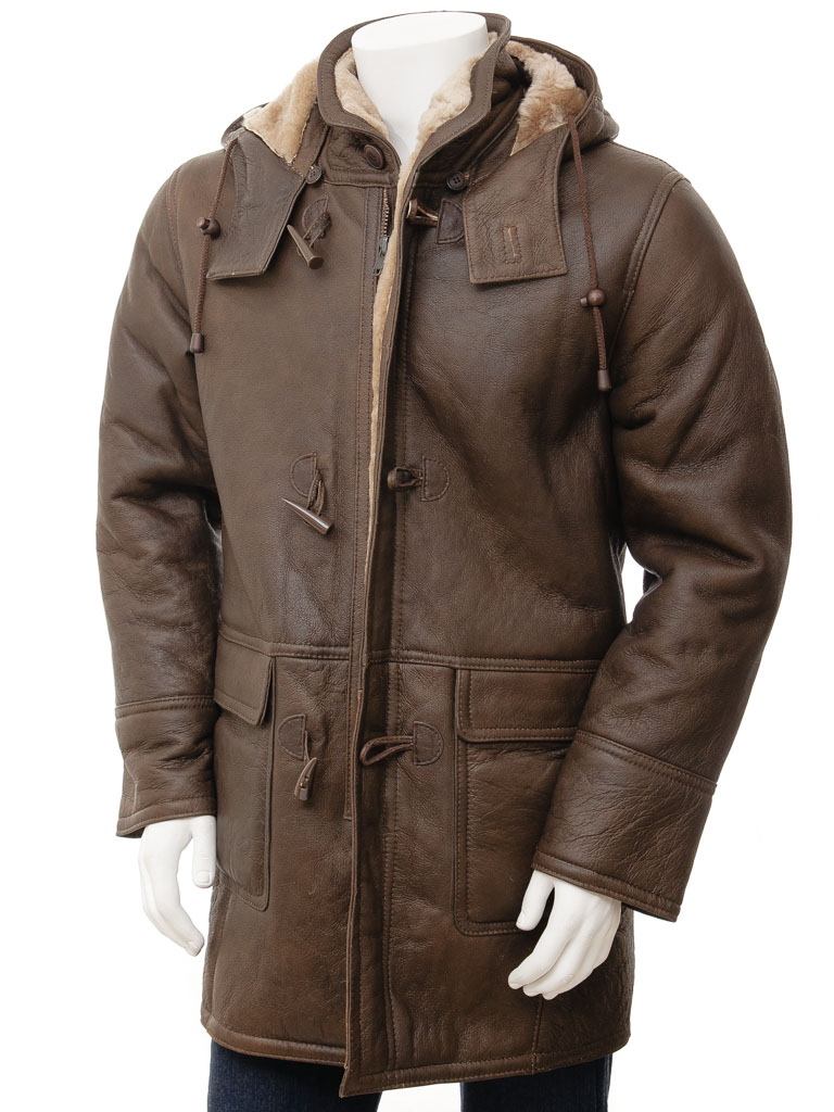 Mens Brown Sheepskin Duffle Coat Plzen Men Caine