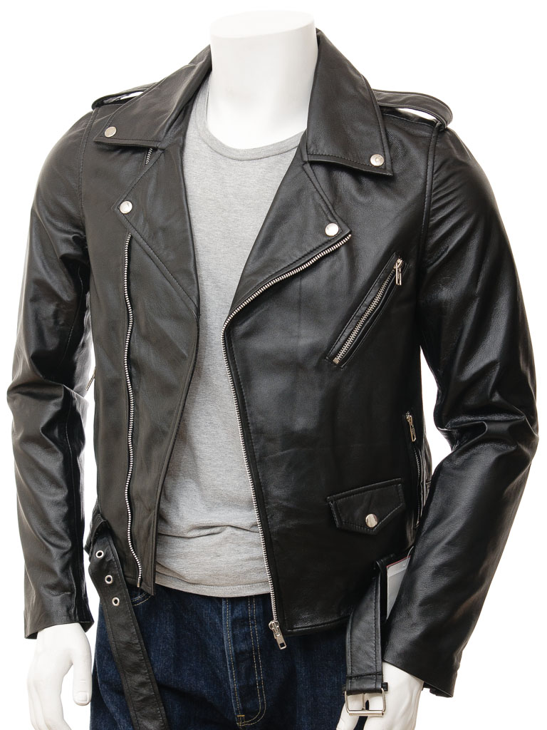 Menu0026#39;s Black Leather Biker Jacket Shores  MEN  Caine