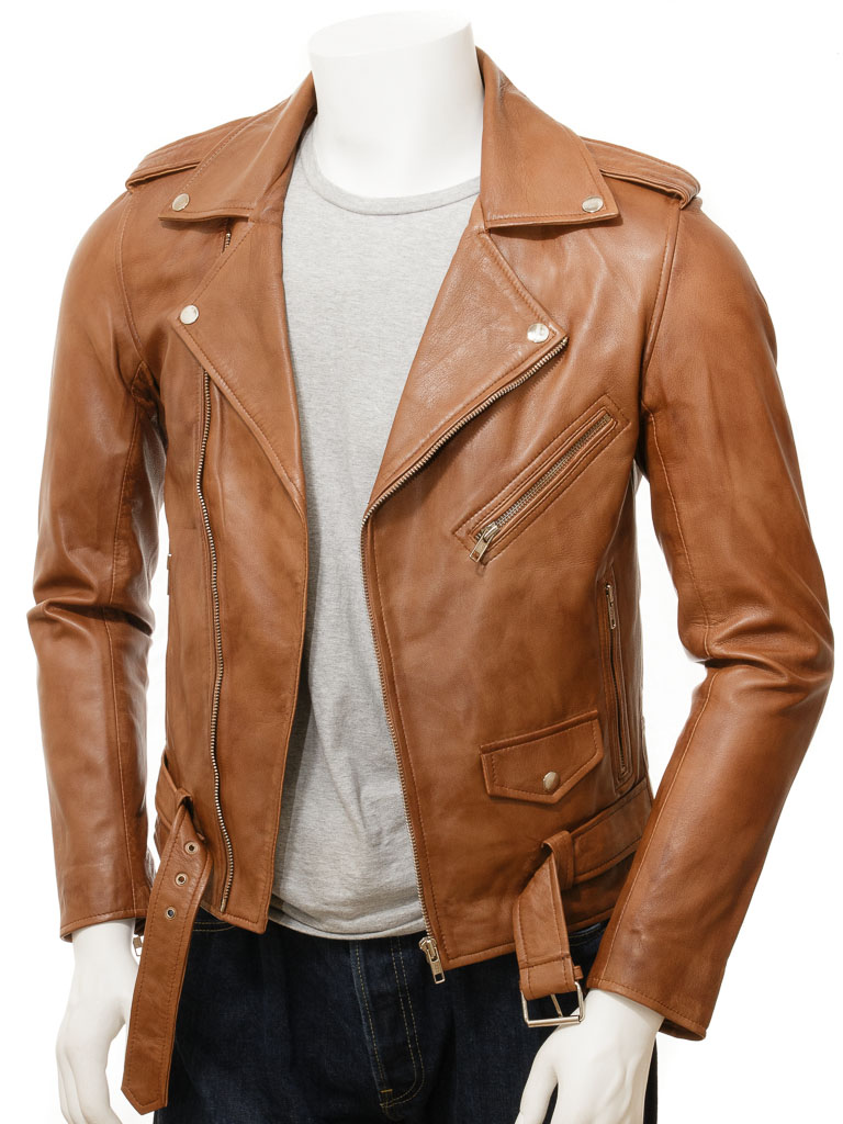 730aba3dad4 Men s Tan Leather Biker Jacket  Shores    MEN    Caine