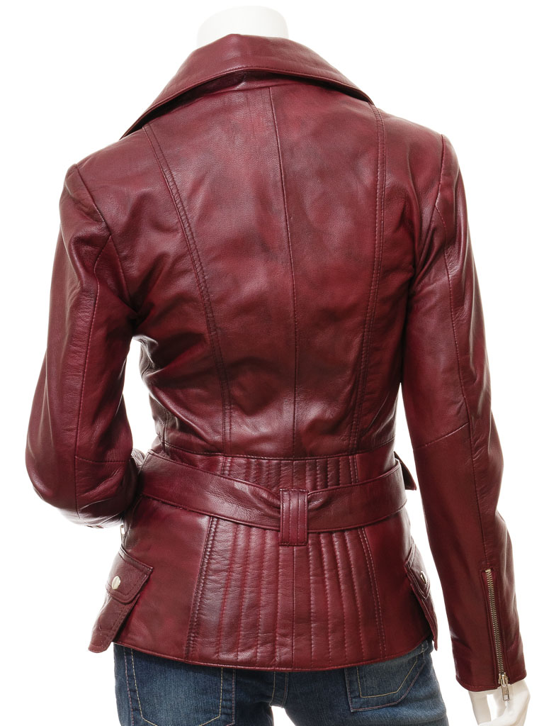dfcede91dd3a6 Women  39 s Burgundy Leather Biker Jacket  Simi    WOMEN    Women  39 s  Burgundy Leather Biker Jacket  Simi    WOMEN    Caine