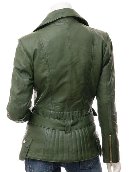 1f23c87b8006b Women s Green Leather Biker Jacket  Simi    WOMEN    Caine