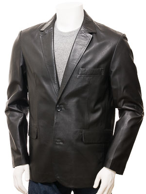 Mens Leather Blazer in Black: Alphington