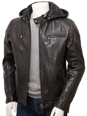 Men's Black Leather Hoodie Jacket: Anstey