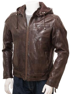 Men's Brown Leather Hoodie Jacket: Anstey