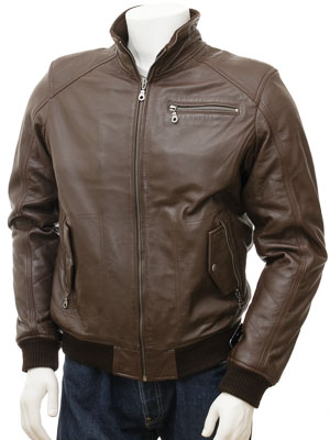 Men's Leather Jacket in Brown: Augsburg