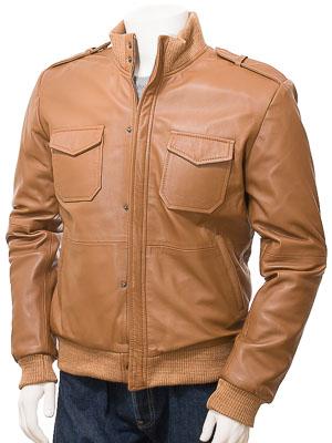 Men's Tan Leather Bomber Jacket: Belgrade