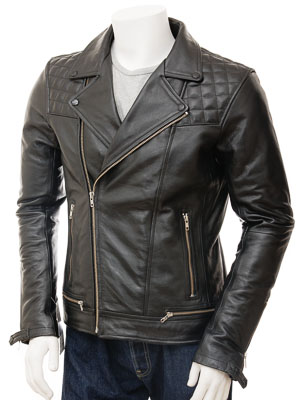 Men's Leather Biker Jacket in Black: Berners