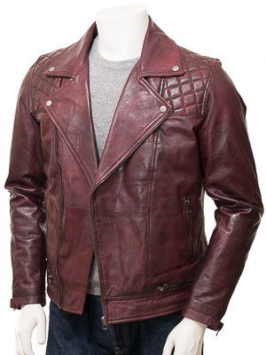 Men's Burgundy Leather Biker Jacket: Cockwood