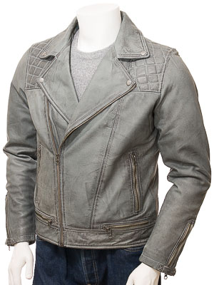 Men's Grey Leather Biker Jacket: Cockwood