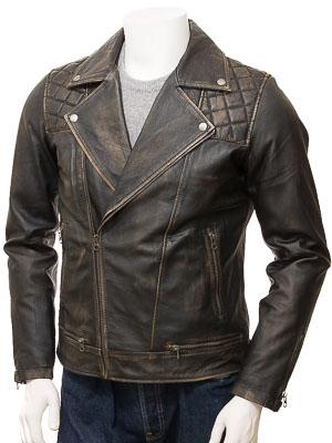 Men's Vintage Leather Biker Jacket: Cockwood