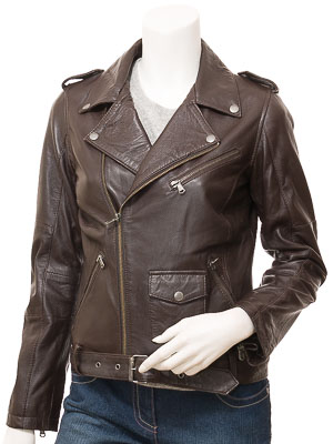 Women's Leather Biker Jacket in Brown: Blossburg
