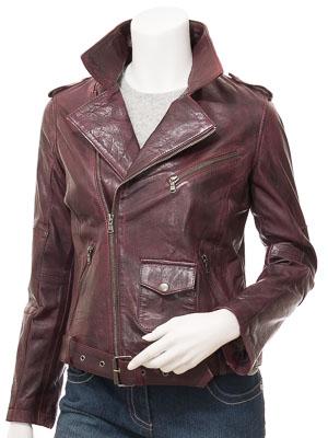 Women's Leather Biker Jacket in Oxblood: Blossburg