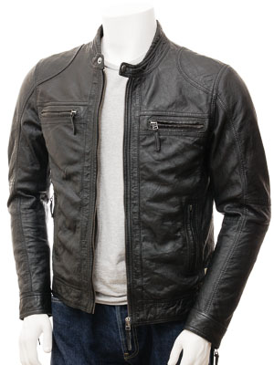 Men's Black Leather Biker Jacket: Branscombe