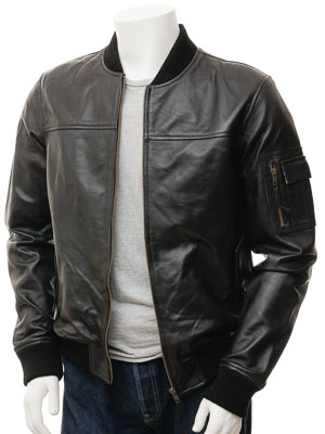 Men's Black Leather Bomber Jacket: Braunton
