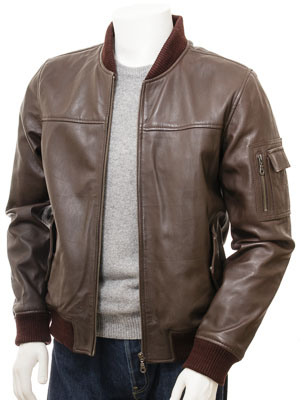 Men's Brown Leather Bomber Jacket: Braunton