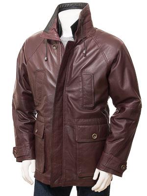 Men's Leather Coat in Oxblood: Brealeys