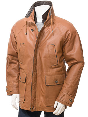 Men's Leather Coat in Tan: Brealeys