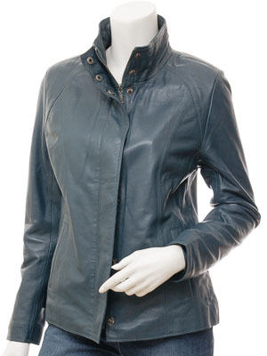 Womens Leather Jacket in Blue: Bryant