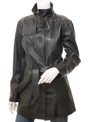 Womens Leather Trench Coat in Black: Campbell