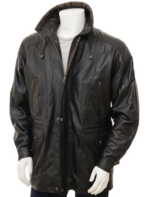 Men's Black Leather Coat: Chawleigh