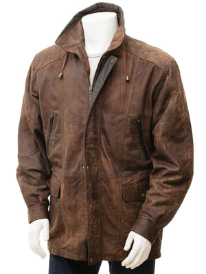 Men's Brown Leather Coat: Chawleigh