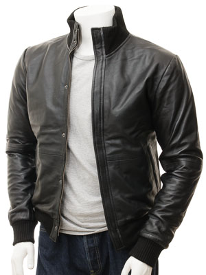 Men's Black Leather Bomber Jacket: Cheriton