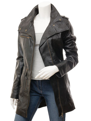Women's Black Leather Trench Coat: Chickasaw
