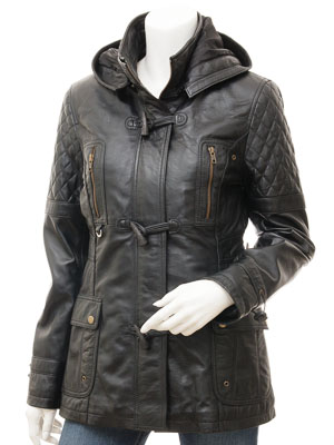 Women's Black Leather Parka: Clio