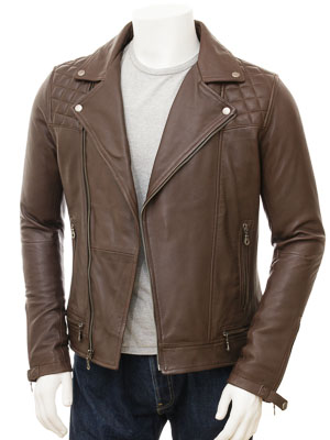 Mens Biker Leather Jacket in Brown: Cockwood