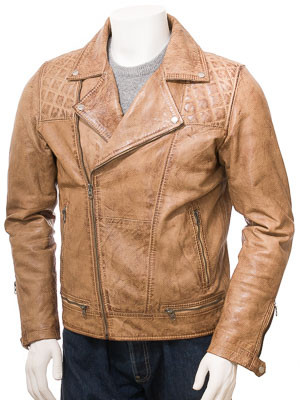 Men's Leather Biker Jacket in Tan: Cockwood