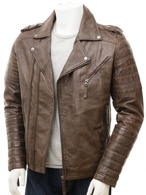 Men's Brown Leather Biker Jacket: Colaton