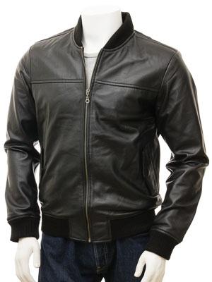 Men's Black Leather Bomber Jacket: Coleford