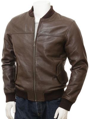 Men's Brown Leather Bomber Jacket: Coleford