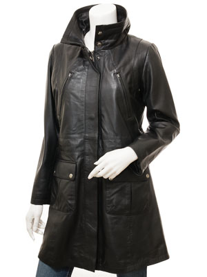 Women's Black Leather Coat: Cottonton