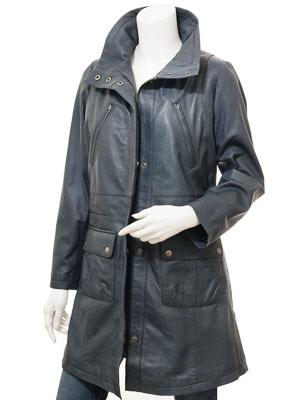Women's Blue Leather Coat: Cottonton