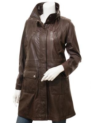Women's Brown Leather Coat: Cottonton