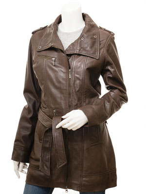 Women's Brown Leather Trench Coat: Chickasaw