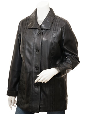 Women's Black Leather Coat: Cullman