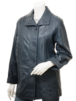 Women's Blue Leather Coat: Cullman
