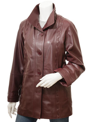 Women's Burgundy Leather Coat: Cullman
