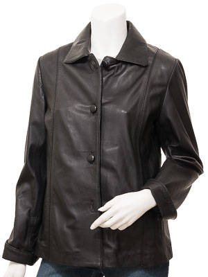 Women's Leather Jacket in Black: Cusseta