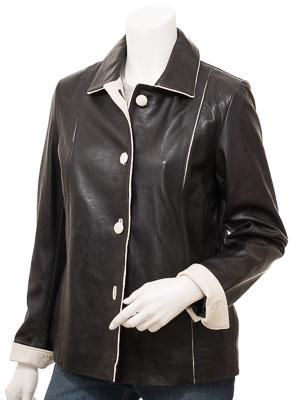 Women's Black & Ivory Leather Jacket: Cusseta