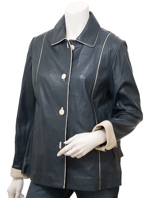 Women's Navy & Ivory Leather Jacket: Cusseta